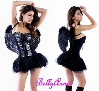 2PCS Sexy Womens Girls Dark Angel Fancy Dress Up Halloween Costume