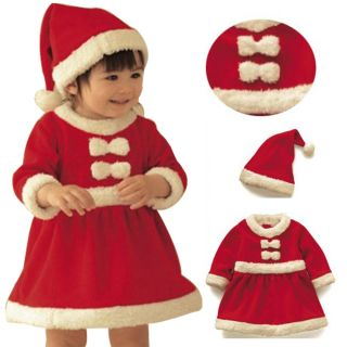 Baby Kids Infant Girls Christmas Xmas Santa Claus Costume Dress Wear