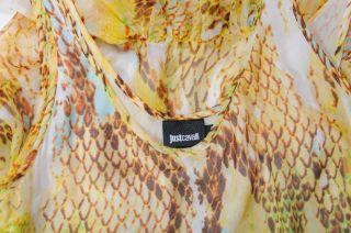 Just Cavalli Snake Skin Print 100 Silk Sundress Dress US 2XS EU 36