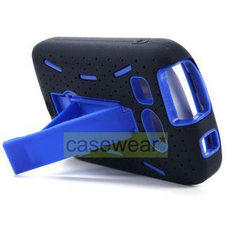 Aqua Blue Kickstand Double Layer Hard Case Cover for Kyocera Hydro