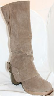 Knee High Buckled Boots Taupe Suede PU High Calf Style Gray Fashion
