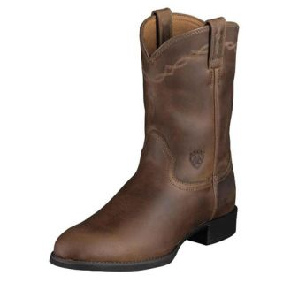 Ariat Mens Heritage Pull on Roper Cowboy Boot Distressed Brown