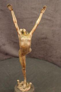Large Bronze Girl Ballerina Ballet Dancer Female Art Deco Figurine