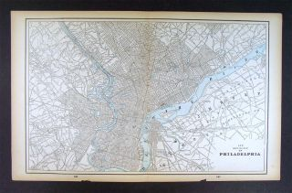 1893 Antique Map Philadelphia City Plan Pennsylvania
