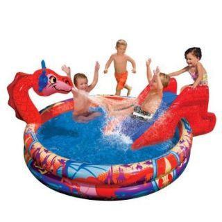 Banzai Slide N Spray DRAGON POOL Inflatable Water Sprinkler Toy Large