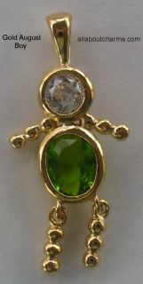 for sale is this beautiful gold august boy birthstone brat charm this