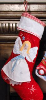 Pottery Barn Red Angel Christmas Stocking New Blank