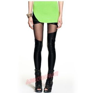 See Through Ladies Rock Punk Funky PU Leather Patch Leggings Tight