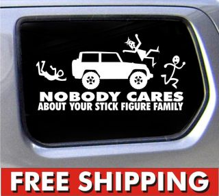 Jeep Family Nobody Cares Truck Funny Stickers Car Decal Bumper