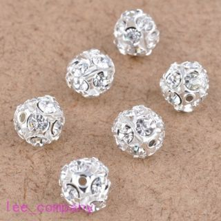 10 Pcs Austrian Crystal Silver Plated Spacer Loose Beads Charms