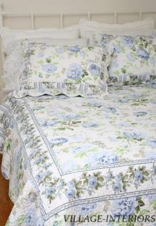 Ava French Country Chic Shabby Blue Rose Twin Quilt Set