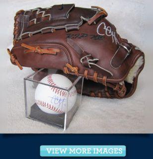 Glove Signed by New York Yankee CC Sabathia + Signed Baseball in case