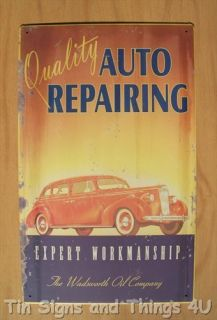 Quality Auto Repair Tin Sign Metal Vtg Antique Car Garage Wall Decor