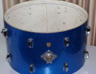 Vintage Ludwig Bass Drum Blue Sparkle Ludwig 20 Inch Kick Drum 1966