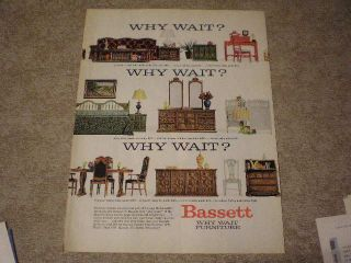 1966 Bassett Furniture Ad Cocktail Table Vanity Desk Headboard Crib