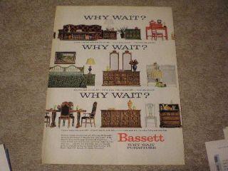 1966 Bassett Furniture Ad Cocktail Table Vanity Desk Headboard Crib