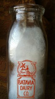 BATAVIA DAIRY CO   Square Pyroglazed Half Pint Milk Bottle Batavia