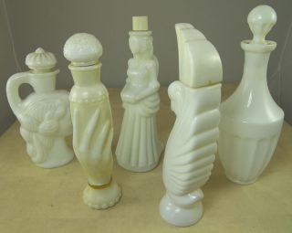 Avon Bottles All White Milk Glass Grecian Pitcher Swan Lake Etc