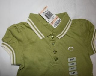 Greendog Girls 2T Polo Shirt Lime Green White Stripe Knit Collar Top