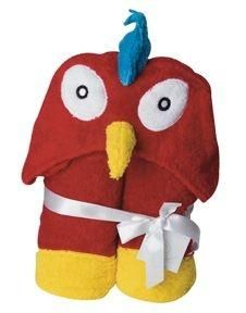 Parrot Hooded Bath Towel Kids Cotton New 27 x 54 Red