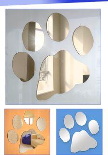15cm Shatterproof Acrylic Dog Bear Paw Print Mirror