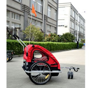 2in1 Double Kids Baby Bike Bicycle Trailer Stroller Jogger Carrier