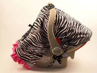 Infant Baby Car Seat Canopy Cover Tent Cover Seat Cover Zebra Hot Pink