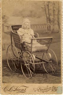 Little Girl in Pram Baby Carriage Vintage Cabinet Card
