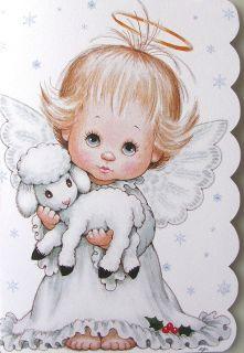 Baby Girl Child Angel Halo Lamb Sheep Christmas Holiday Greeting Card