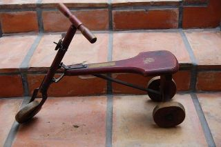red wooden childs BABY WOOD riding toy scooter bike DOLL TRICYCLE old