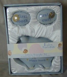 Baby Essentials 3 Piece Blue Keepsake Set Piggy Bank Tooth Curl Holder