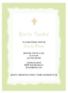 Green Cross Religious Baby Shower Invitations