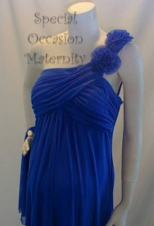 blue one shoulder maternity dress xl baby shower chiffon cocktail nwt