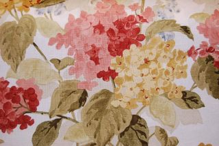 Richloom Linen Texture Red Green Gold Floral Drapery Upholstery Fabric