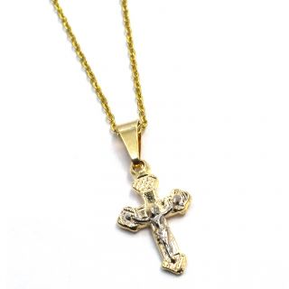 Gold 18K GF Two Tone Chain Cross Pendant Necklace Crucifix Kids Child