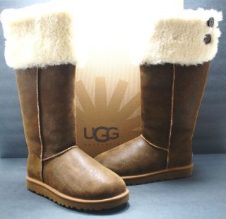 Womens UGG Boot Over The Knee Bailey Button Chestnut Original 100