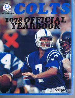 1978 Baltimore Indianapolis Colts NFL Football Yearbook