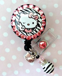 Hello Kitty Bling ID Reel Badge Holder with Charms Nurse Teacher Etc