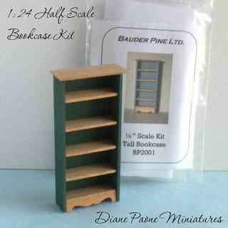 24 HALF Scale Wooden Bookcase KIT   DIY  Dollhouse Miniature