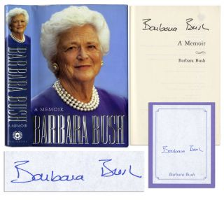 Barbara Bush Signed Memoir Book Signature First Lady