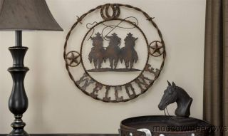 Star Horseshoe COWBOY WELCOME PLAQUE Western Barn Sign BARBED WIRE Art