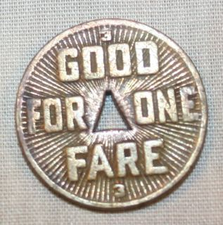 Pittsburgh Railways Company Token 1922 Good One Fare
