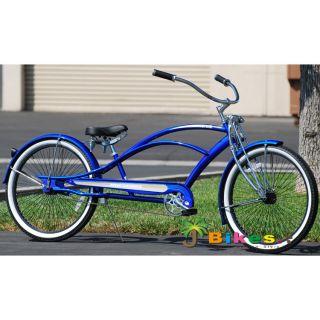 Stretch Beach Cruiser Bicycle, Micargi Mustang GTS Chopper BLUE bike