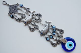 Fish Wall Hanging Amulet Handmade Turkish Silver Plated Evil Eye Bead
