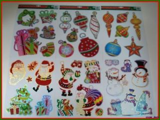 Christmas Window Clings Decoration 6 Piece 684 New
