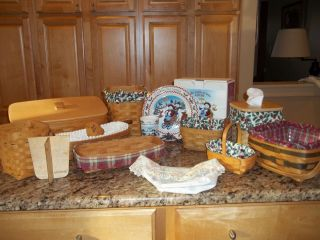 Big Lot of Longaberger Baskets, Pottery, and Wrought Iron Milk and