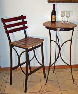 Wine Barrel Bistro Table Bar Serving Table Wood Metal