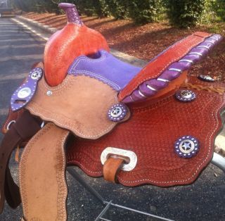 12 Barrel Racing Saddle Hand Tooled Purple