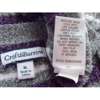 Croft & Barrow Sz XL V Neck Nylon Blend Gray Purple White Striped