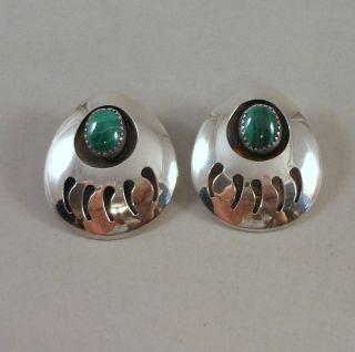 Navajo Large Sterling Silver Bear Claw w Malachite Earrings